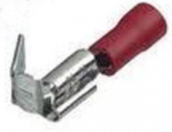 0,5mm²-1,5mm² (6,3 x 0,8) PVC (TEIL-Isoliert) Flachsteckhülsen mit Abzweig ROT (100 Stück)
