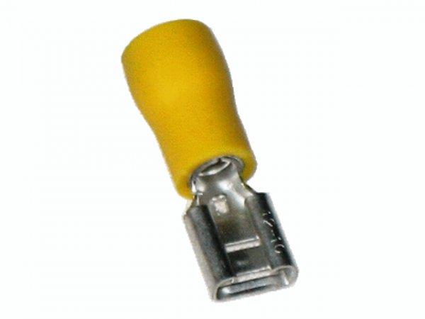 4mm²-6mm² (6,3 x 0,8) PVC (TEIL-Isoliert) Flachsteckhülsen GELB (100 Stück)
