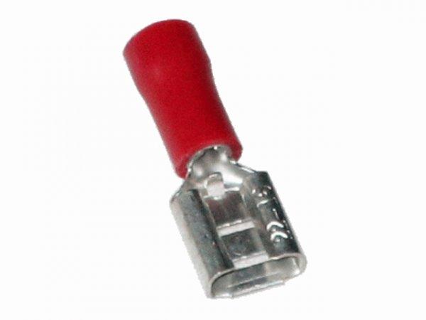 0,5mm²-1,5mm² (6,3 x 0,8) PVC (TEIL-Isoliert) Flachsteckhülsen ROT (100 Stück)