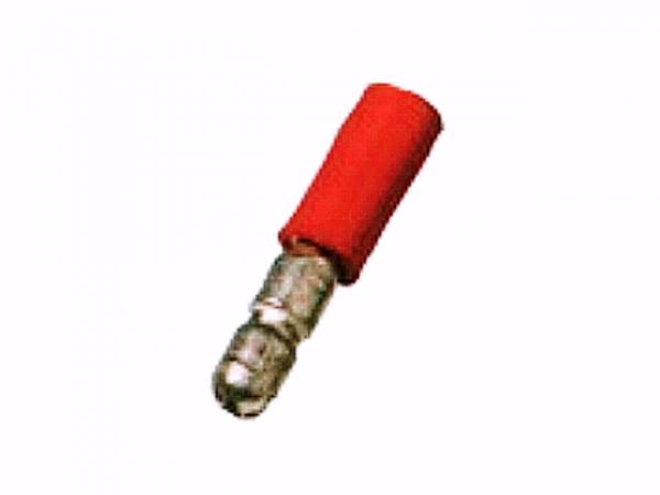 0,5mm²-1,5mm² (4mm) PVC Rundstecker ROT (100 Stück)